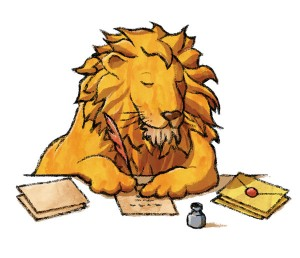 The Lion's Share lion writing