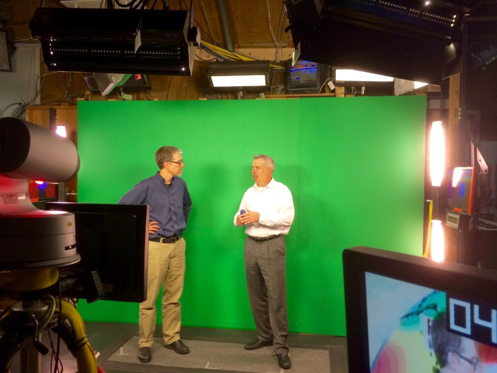 The green screen in the studio where Jason does his forecast.